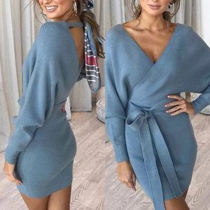 🔥🔥Sexy and Cozy Blue V Neck Sweater Dress